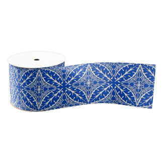 モロッコのタイル-コバルトブルーおよび白 グログランリボン