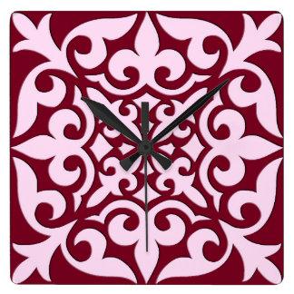 モロッコのタイル-バーガンディおよびピンク スクエア壁時計