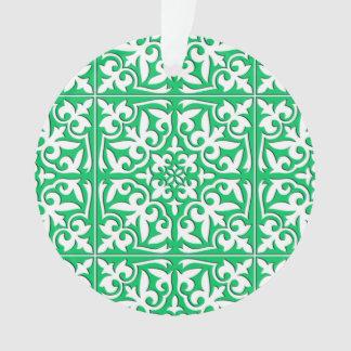 モロッコのタイル-ヒスイの緑および白 オーナメント