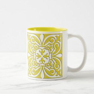 モロッコのタイル-マスタードの黄色および白 ツートーンマグカップ