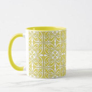 モロッコのタイル-マスタードの黄色および白 マグカップ