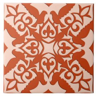モロッコのタイル-珊瑚のオレンジおよびモモ タイル