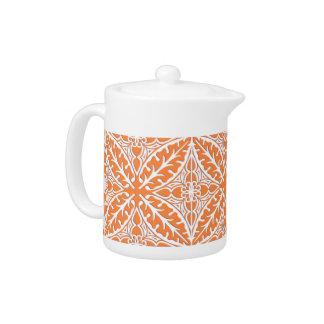 モロッコのタイル-珊瑚のオレンジおよび白い