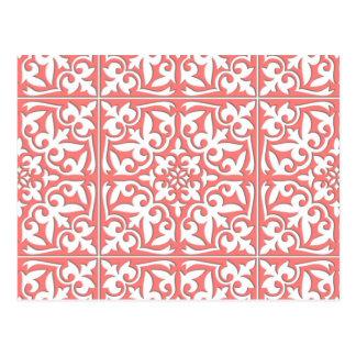 モロッコのタイル-珊瑚のピンクおよび白 ポストカード