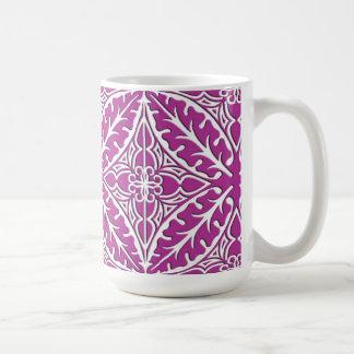 モロッコのタイル-蘭および白 コーヒーマグカップ