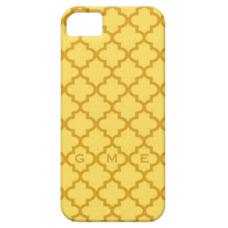 モロッコのマスタードの黄色のタイルのデザイン3のモノグラム iPhone SE/5/5s ケース
