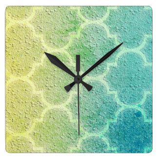 モロッコの刺激を受けたでカラフルなパターン柱時計 スクエア壁時計