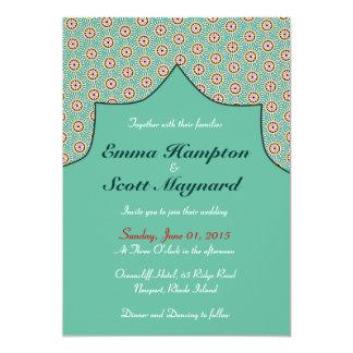 モロッコの幾何学的な装飾の結婚式招待状 カード