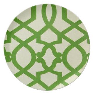 モロッコの格子プレート-緑II プレート