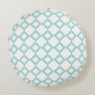 モロッコの格子垣のミントおよび白い円形の装飾用クッション ラウンドクッション
