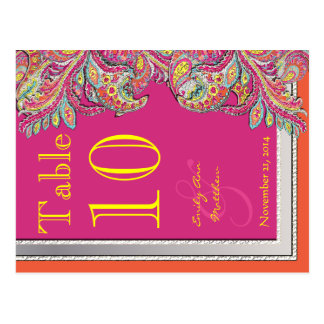 モロッコの蜜柑及び明るい赤紫色の結婚式のテーブル数 ポストカード