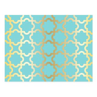 モロッコの金ゴールド、ミント、tourquise、粋なパターン、ガーリー ポストカード