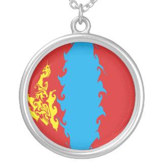 モンゴルのすごい旗 シルバープレートネックレス