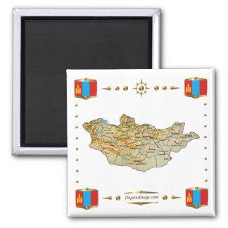 モンゴルの地図 + 旗の磁石 マグネット