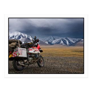 -モンゴルの郵便はがきAltai山で自転車に乗ること ポストカード