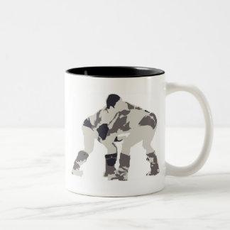 モンゴルのNadaamのレスリング選手 ツートーンマグカップ