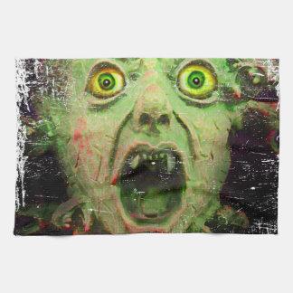 モンスターのゾンビの緑の気色悪い恐怖 キッチンタオル