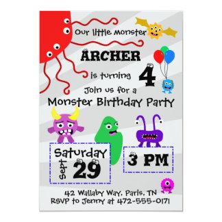 モンスターの子供の誕生日の招待状-ライト カード