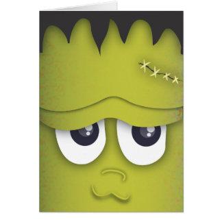 モンスターの頭部のハロウィン気味悪くかわいい緑カード カード
