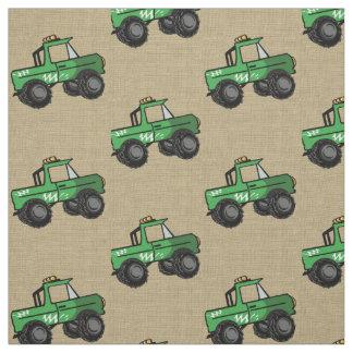 モンスタートラックの緑 ファブリック