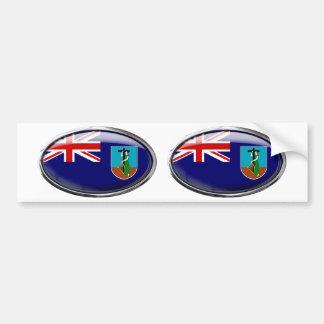 モンセラートの旗のガラス楕円形 バンパーステッカー