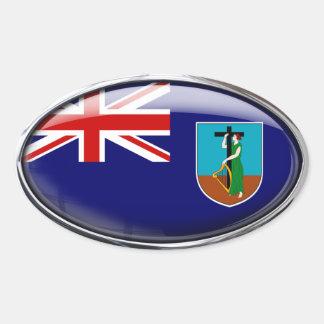 モンセラートの旗のガラス楕円形 卵形シールステッカー