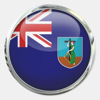 モンセラートの旗のガラス玉 丸形シールステッカー