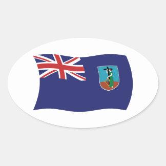モンセラートの旗のステッカー 卵型シール