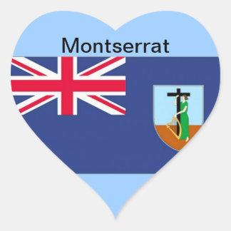 モンセラートの旗 ハート形シール・ステッカー