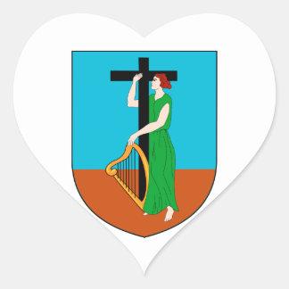 モンセラートの紋章付き外衣 ハート形シール・ステッカー