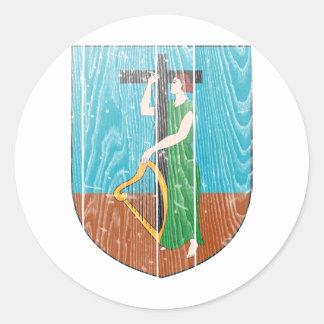 モンセラートの紋章付き外衣 丸形シールステッカー