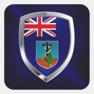 モンセラートの金属紋章 正方形シールステッカー