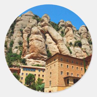 モンセラート修道院、カタロニア、スペイン 丸形シール・ステッカー