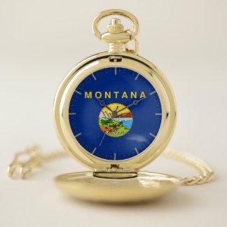 モンタナの旗が付いている愛国心が強い壊中時計 ポケットウォッチ