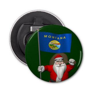 モンタナの旗を持つサンタクロース 栓抜き