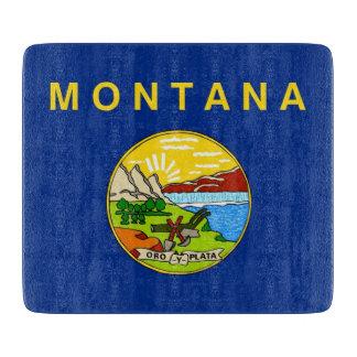 モンタナの旗を持つ小さいガラスまな板 カッティングボード