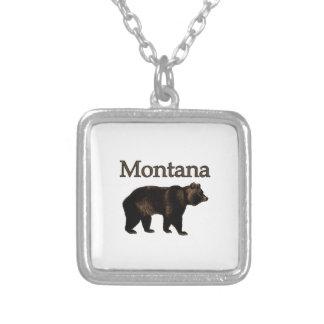 モンタナの灰色グマ シルバープレートネックレス