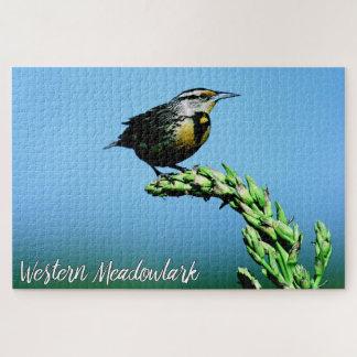 モンタナ西部のMeadowlarkの鳴き鳥の青空 ジグソーパズル