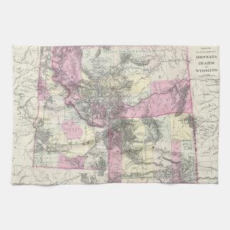 モンタナ、ワイオミングおよびアイダホ(1884年)のヴィンテージの地図 キッチンタオル