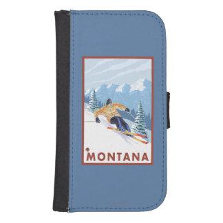 モンタナ- Downhhillの雪のスキーヤー ウォレットケース