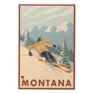 モンタナ- Downhhillの雪のスキーヤー ウッドウォールアート
