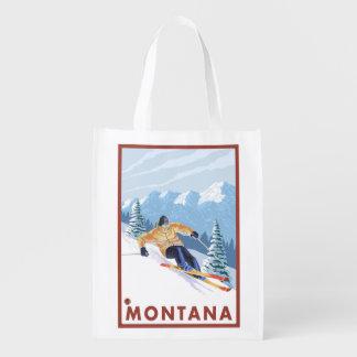 モンタナ- Downhhillの雪のスキーヤー エコバッグ