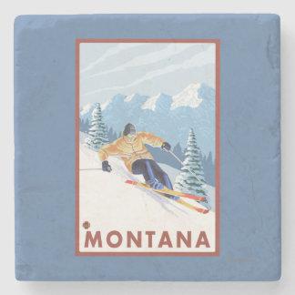 モンタナ- Downhhillの雪のスキーヤー ストーンコースター