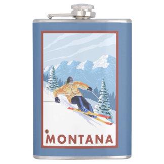 モンタナ- Downhhillの雪のスキーヤー フラスク