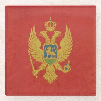 モンテネグロのグランジな主権国の旗 ガラスコースター