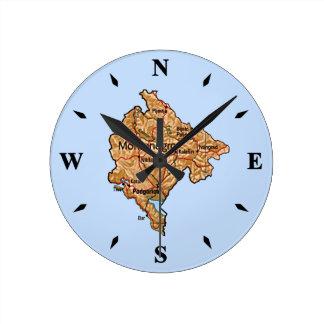 モンテネグロの地図の時計 ラウンド壁時計