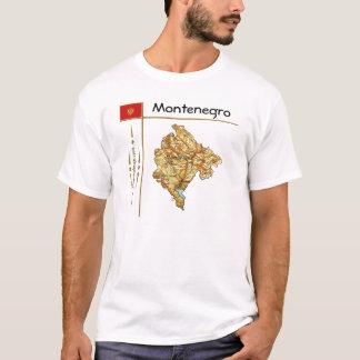モンテネグロの地図 + 旗 + タイトルのTシャツ Tシャツ