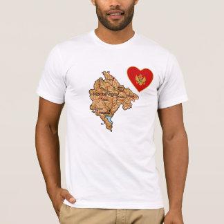 モンテネグロの旗のハートおよび地図のTシャツ Tシャツ