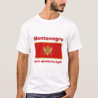 モンテネグロの旗 + 地図 + 文字のTシャツ Tシャツ