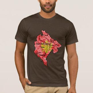 モンテネグロFlagcolorの地図のTシャツ Tシャツ